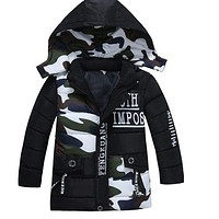 Kid Camouflage Thicken Hooded Outerwear Winter Jackets