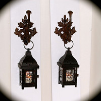 "Iron Lantern Sconce PAIR Shabby Chic ** ~24"" Tall x 5.5"" wide- Beautiful- Can't you Picture These in Your Home ???  BeachDazzled ORIGINAL"
