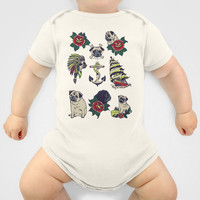 Pugs and the sea Baby Clothes by Huebucket