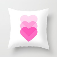 pink hearts Throw Pillow by Love from Sophie