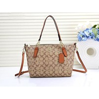 Coach fashion selling a casual shopping shoulder bag with printed patchwork color #1