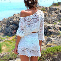 White Crochet Half Sleeve A-line Mini Dress with Belt