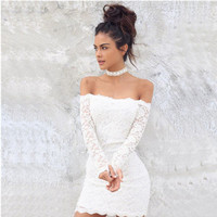 White Off the Shoulder Back Halter Lace Mini Dress