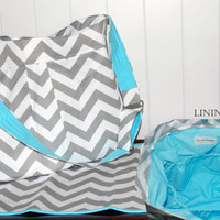SET Diaper Bag and Changing Pad in Grey and White CHEVRON with Aqua lining