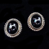 Classic Earrings Louis Feraud Paris Avon Vintage 18k Gold Plate Hematite v513