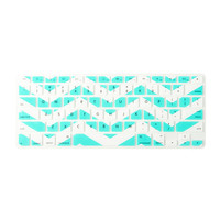 Mint and White Chevron Stripe Silicone MacBook Keyboard Cover
