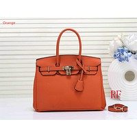 "Samplefine2 ""Hermes"" new fashion  ladies  simple casual top layer leather lychee pattern shoulder bag Orange"