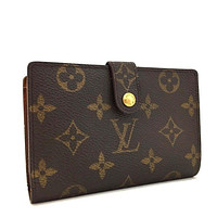 Auth Louis Vuitton Monogram Porte Monnaie Billets Viennois Bifold Wallet /206