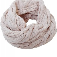Humble Chic Women's Cable Knit Circle Scarf - Tan Chunky Knit Cold Weather Infinity, Tan