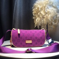 Kuyou Gb59717 Lv Louis Vuitton Monogram Purple Bumbag