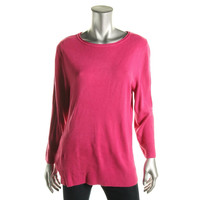 Karen Scott Womens Ribbed Trim Knit Pullover Sweater
