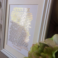 "Real Gold Foil Charles Swindoll Print on White Matte Paper. ""Attitude"" Inspirational Quote for home or office"