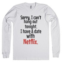 Date With Netflix-Unisex White T-Shirt