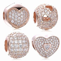 2017 New autumn rose gold color clip Charms pave heart Bead 925 Sterling Silver Jewelry Fit Original brand Pandora Bracelets