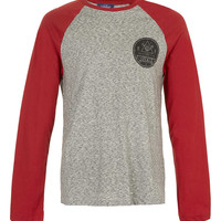 Red/Grey State Locals Printed Long Sleeve T-Shirt - Men's Long Sleeve T-Shirts - Clothing - TOPMAN USA