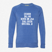 Equestrian Funny Horse_Rectangle fleece crewneck sweatshirt