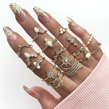 Vintage Gold Geometry Crystal Sun Opal Crown Ring Sets For Women Adjustable Fashion Rings Female Valentine Gift