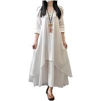 Women Casual Loose Long Sleeve Dress Cotton Linen Solid Long Maxi Dress Vestidos Plus Size S-5XL