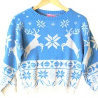 Shop Now! Ugly Sweaters: Vintage 80s Reindeer & Nordic Snowflakes Tacky Ugly Christmas Sweater Women's Size Small (S) $25 - The Ugly Sweater Shop