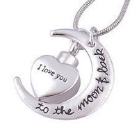 I Love You to the Moon and Back Urn Necklace for Ashes Memorial Keepsake Cremation Pendant Jewelry