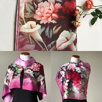 Pink floral 100% Silk Satin smooth soft Long double fabric  Scarf with buttons