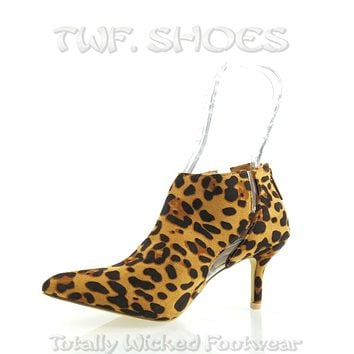 "Adela Leopard 3"" High Kitten Heel Ankle Boots Booties 6.5 - 11"