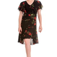 Hell Bunny 60's Vintage Inspired Black & Red Rose Lily Chiffon Dress
