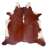 Cow Hide Area Rug in Red Brown and White design by Capolavoro