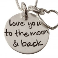 i love you to the moon and back necklace, handstamped