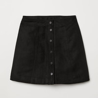 A-line Skirt - Black/faux suede - Ladies | H&M US