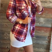 Penny Plaid Flannel Top: Plum/Pink