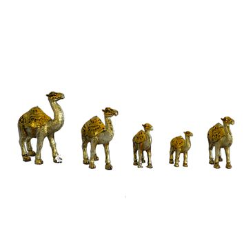 Set Of 6 Gold Camel Statue Ornament Figurine Ornaments Resin Crafts For Fortune Wealth Home Office Decor Lucky Gifts