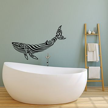 Vinyl Wall Decal Abstract Big Blue Whale Sea Ocean Style Stickers (3735ig)