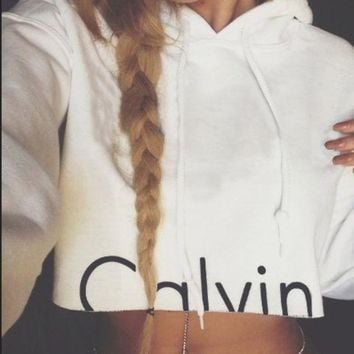 "Calvin Klein"" Round-neck Tops Crop Top Long Sleeve Hoodies"