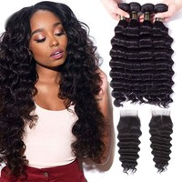 Uneed Hair Peruvian Loose Deep Wave Bundles With Closure 3/4Bundles With Closure Remy Human Hair Weave Bundles With Lace Closure