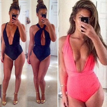 2 Wear Ways Women's One Piece Deep V Swimwear Monokini Summer Swimsuit Beachwear = 1956530884