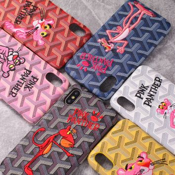 Pink Panther Stylish Iphone 6/6s Iphone 7/7p  Iphone 8/X Cute  Pink Embroidery Iphone Lovely Cartoons Innovative Apple Phone Case [74226434060]