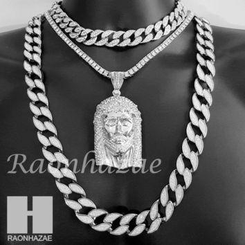 """Hip Hop Iced Out Jesus Pendant 16"""" Iced Out Choker 18"""" Tennis 30"""" Cuban Chain 2S"""