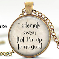 Harry Potter I solemnly swear Im up to no good Quote Fred Pendant Necklace Jewelry Movie jewelry necklace, gift for harry potter lover fan