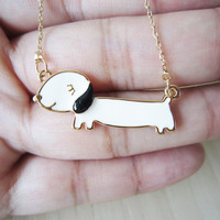 Gold necklace, cute, Papa dog, sausage dog necklace, a short paragraph, clavicle chain, best gift
