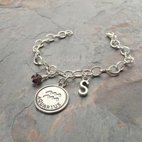 Aquarius Zodiac Jewelry - Aquarius Sign Gift - Amethyst Birthstone - Initial Charm Jewelry - Aquarius Charm - February Birthstone Gift