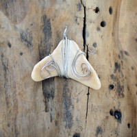 Natural Shell Jewelry Silver Wire Wrapped Beach Pendant