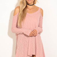 Ellie Cold Shoulder Knit - Pink