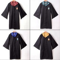 Adult Harry Potter Gryffindor/Slytherin/Hufflepuff/Ravenclaw Robe/Cloak/Cape Cosplay Costumes [8834066508]