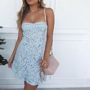 Adley Bustier Fitted Lace Party Dress