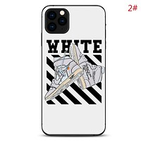 NIKE & Jordan & Off White New  fashion letter shoes people stripe print couple protective cover phone case 2#