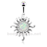 Opal Sun  Illuminating Belly Button Ring 14ga Navel Ring Body Jewelry