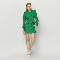 Green Doll Collar Big Double Button Down Long Sleeve Coat