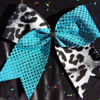 texas size leopard cheer bow by BragAboutItCheerBows on Etsy
