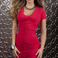 Red Mini Dress with  Straps to Create Multiple Looks
